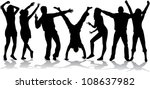 dancing silhouettes   large... | Shutterstock .eps vector #108637982
