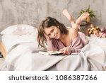 amazing joyful pretty girl with ... | Shutterstock . vector #1086387266