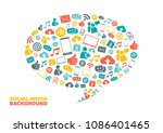 speech bubble with social media ... | Shutterstock .eps vector #1086401465