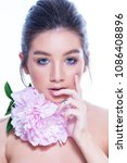 beauty woman face portrait.... | Shutterstock . vector #1086408896