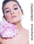 beauty woman face portrait.... | Shutterstock . vector #1086408902