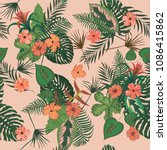 seamless exotic trendy pattern... | Shutterstock .eps vector #1086415862
