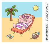summer pig in swimsuit and... | Shutterstock .eps vector #1086419918