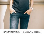 close up of slender young... | Shutterstock . vector #1086424088