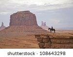 Navajo Woman On Horseback In...