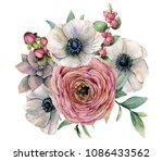 watercolor succulent ... | Shutterstock . vector #1086433562