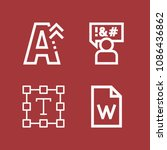 outline set of 4 word icons... | Shutterstock .eps vector #1086436862