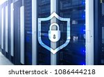 cyber protection shield icon on ... | Shutterstock . vector #1086444218