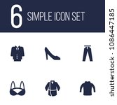 set of 6 clothes icons set.... | Shutterstock .eps vector #1086447185