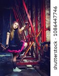 Small photo of beautiful little girl in the steampunk styled photoshoot in the studio