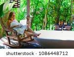 blogger work freelance on... | Shutterstock . vector #1086448712