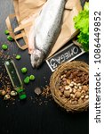Small photo of Omega 3 source. Healthy fat salmon or trout, oil, nuts, seeds, chia, lentils, brussels sprouts, eggs