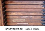 antique type cases with signs of wear and age - stock photo