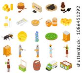 propolis honey apiary icons set.... | Shutterstock . vector #1086451292