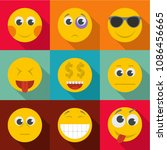 expression of emotion icons set.... | Shutterstock . vector #1086456665