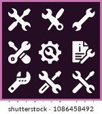 set of 9 wrench filled icons... | Shutterstock .eps vector #1086458492