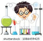 a chemist experiment at lab ... | Shutterstock .eps vector #1086459425