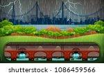 thunderstorm at city from park... | Shutterstock .eps vector #1086459566