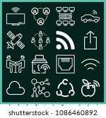 set of 16 connection outline...   Shutterstock .eps vector #1086460892