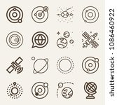 set of 16 planet outline icons... | Shutterstock .eps vector #1086460922