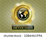 gold emblem or badge with... | Shutterstock .eps vector #1086461996
