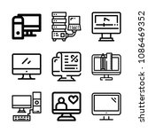 set of 9 monitor outline icons... | Shutterstock .eps vector #1086469352