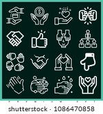 set of 16 hands outline icons... | Shutterstock .eps vector #1086470858