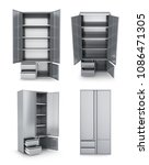 set of metal cabinets for... | Shutterstock . vector #1086471305