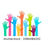 colorful up hands. vector... | Shutterstock .eps vector #1086486242