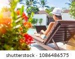 woman summer freelance nomand... | Shutterstock . vector #1086486575