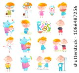kids boys and girls collection... | Shutterstock . vector #1086487256