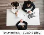 hr managers interviewing female ... | Shutterstock . vector #1086491852
