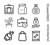 Set Of 9 Bag Outline Icons Suc...