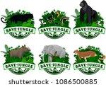 vector set of jungle rainforest ...   Shutterstock .eps vector #1086500885