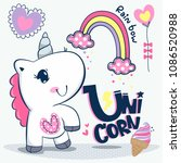 cute baby unicorn cartoon with... | Shutterstock .eps vector #1086520988