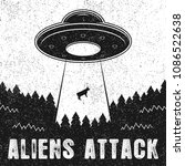 ufo abducts cow. vintage...   Shutterstock .eps vector #1086522638