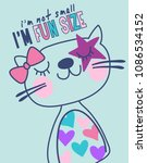 hand drawn cute kitty with... | Shutterstock .eps vector #1086534152