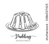 vector hand drawn pudding icon... | Shutterstock .eps vector #1086537425
