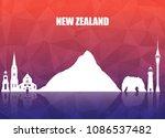 new zeland landmark global... | Shutterstock .eps vector #1086537482