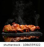 hot and spicy bbq chicken wings ... | Shutterstock . vector #1086559322