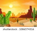 desert landscape with cactuses...   Shutterstock .eps vector #1086574316