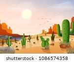 desert landscape with cactus on ... | Shutterstock .eps vector #1086574358