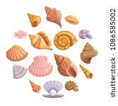 sea shell beach icons set.... | Shutterstock .eps vector #1086585002