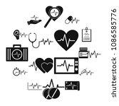 heart pulse beat icons set.... | Shutterstock .eps vector #1086585776