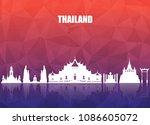 thailand landmark global travel ... | Shutterstock .eps vector #1086605072