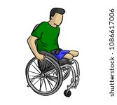 handicapped man on wheelchair... | Shutterstock .eps vector #1086617006