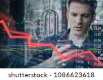 falling stock prices and angry... | Shutterstock . vector #1086623618