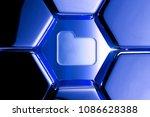 blue metallic folder icon in...
