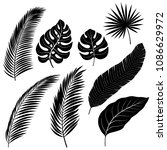 set of black silhouettes of... | Shutterstock .eps vector #1086629972