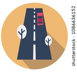 road flat isolated vector icon ... | Shutterstock .eps vector #1086636152